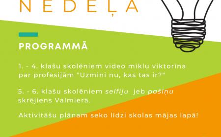 Karjeras nedēļas pasākumi Valmierā 1. - 6. klašu skolēniem